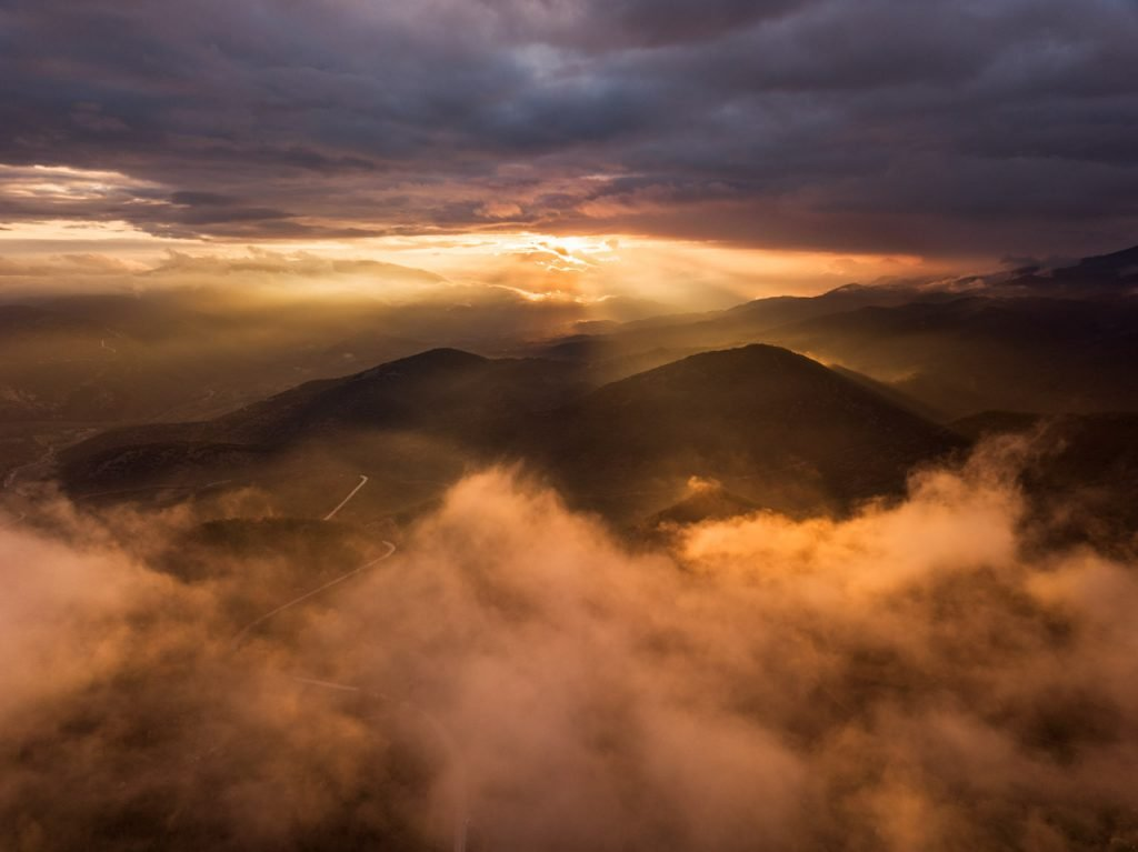 Sunset in Greece's mountains. Things to do in Athens.