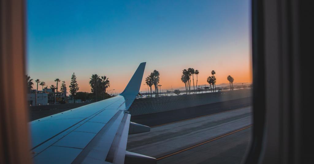 airplane view exotic island palm trees international flight